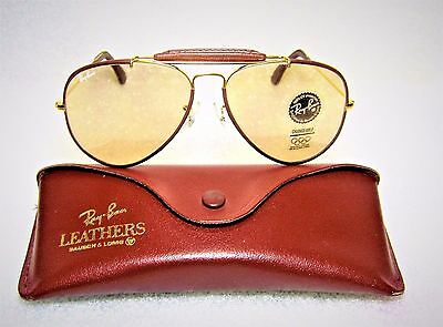 Ray-Ban *nos B&l Vintage Aviator Leathers Super-Changeables *new Sunglasses&case