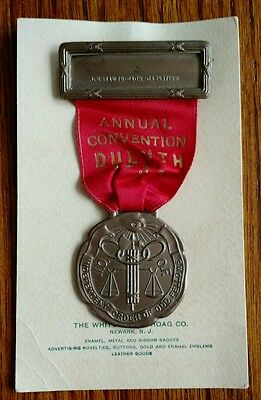 Vintage Antique 1938 Odd Fellows Duluth Annual Convention Pin on Card