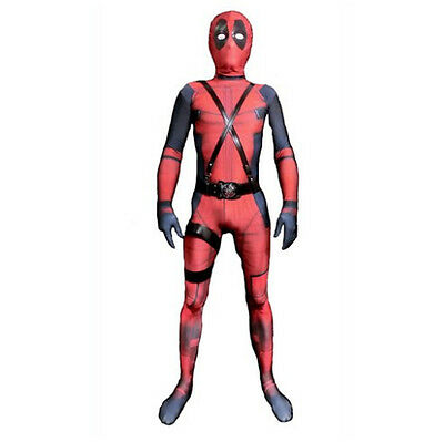 3D Kids Deadpool Costume Lycra Spandex Zentai Mask and Custome are separated