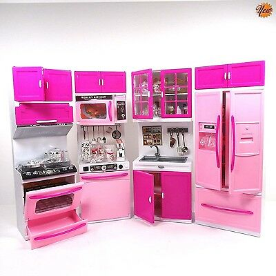 Barbie Doll Kitchen Play Set Toy Kids Toddler Girl Cook Hostess Battery Operated