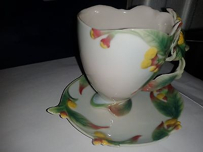 Franz Porcelain Clove Tea Cup And Saucer - Fz00462