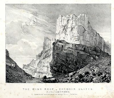 2 antique engravings of the Cheddar Cliffs in Somersetshire – George Rowe c.1840