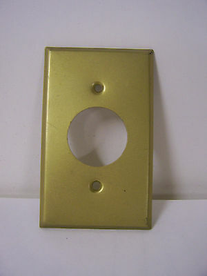 Vtg Single Hole Outlet Cover Plate Single Round Hole Dull Brushed Brass Plated