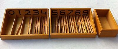 New Montessori Spindle Box complete with 45 wooden spindles. Maths educational