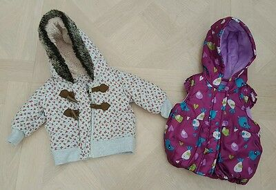 Girls coat and gilet body warmer bundle age 3-6 months