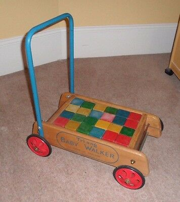 Original 1960s Triang Baby Walker with complete set of 24 coloured bricks blocks
