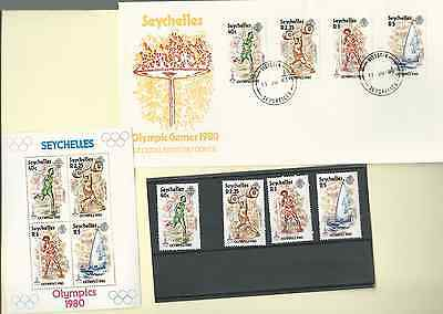 SEYCHELLES 1980 OFFICIAL FDC & MNH SET & S/S SC 452-55a OLYMPIC GAMES 1980