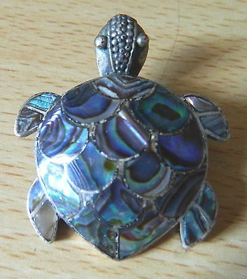 Vintage silver turtle brooch inlaid with abalone shell
