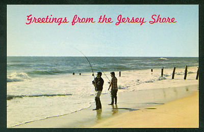 Greetings from the New Jersey Shore Fisherman Fishing Beach Postcard