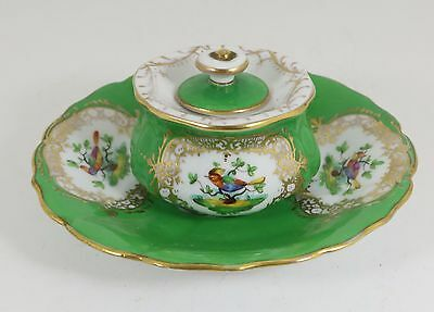Antique German Porcelain Dresden Inkwell Hand Painted