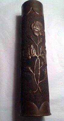 Antique Trench Art WWI Shell Rose Embossed USN Navy Stamped