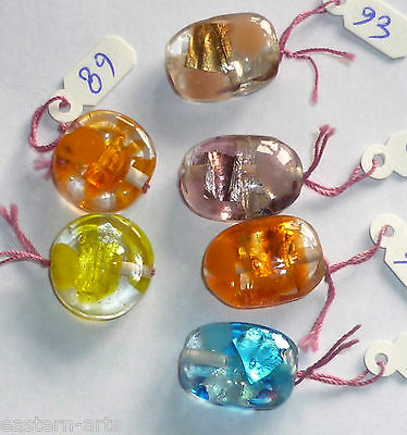 10x Silver Foil Glass Lampwork Beads Jewellery Making 17x7 Disk & 20x8 Oval R04