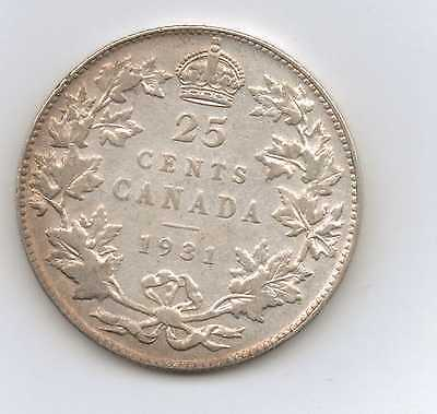 1931 Canada Silver Twenty Five 25 Cents - High Grade Free US Shipping