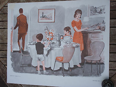 ORIGINAL RETRO VINTAGE 1970s FRENCH POSTER PRINT, FAMILY DINNER TIME AND BEDTIME