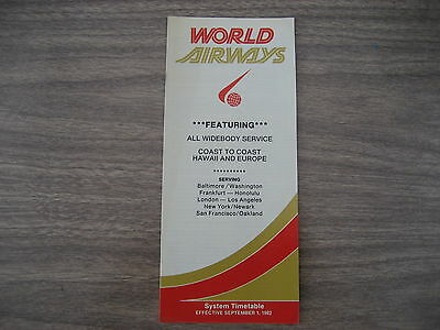 World Airways  Airlines  September 1982   Timetable