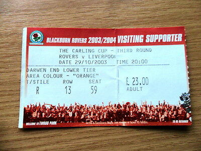 TICKET - BLACKBURN ROVERS v LIVERPOOL, CARLING CUP 3rd ROUND 29/10/2003