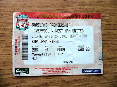 TICKET - LIVERPOOL v WEST HAM UNITED 29/10/2005