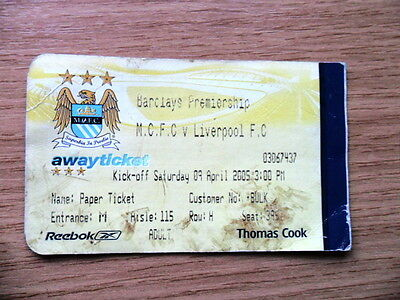 TICKET - MANCHESTER CITY v LIVERPOOL 9/4/2005