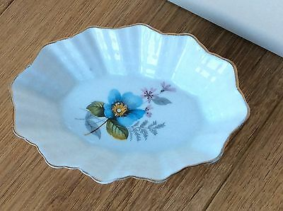 Vintage Shelley Pin Dish Tray Blue Floral Oval Dish With Fluted Edge