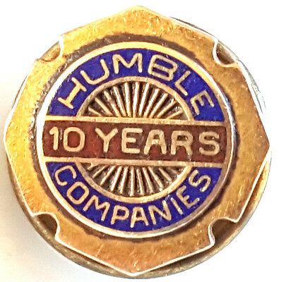 14K Gold Brooch Pin Humble Companies Oil Gas 10 year Service