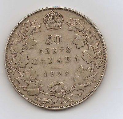 1929 Canada Silver Fifty 50 Cents -  Free US Shipping