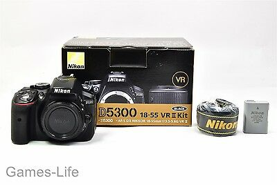 Nikon D5300 24.1MP Digital SLR Camera -Black (Body Only) Boxed + Battery Charger