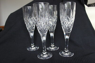 Set Of 4 Heavy Lead Crystal Champagne Flutes / Glasses