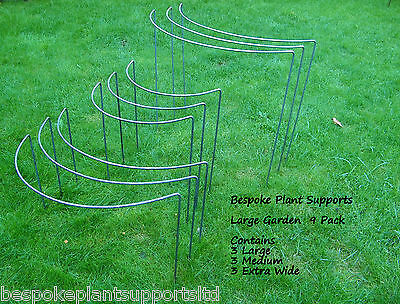 Metal Plant Supports, Large Garden Pack -9 Solid Metal Supports - 3 of each type
