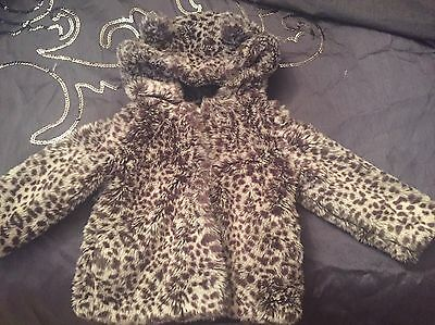 Gorgeous Girls M&S Leopard Fur Coat 18-24 Months Perfect For A Christmas Party