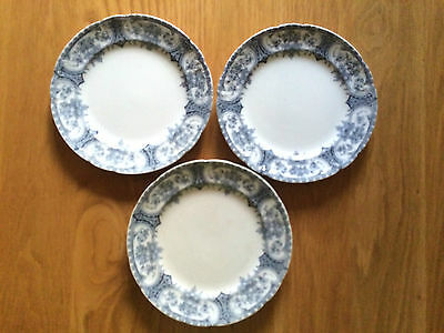 ANTIQUE VICTORIAN  F WINKLE WARWICK  BLUE AND WHITE 7.5 INCH  SIDE PLATES x 3