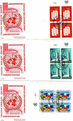 1970 United Nations Blocks of 4 Stamp  On 4 Official First Day Covers