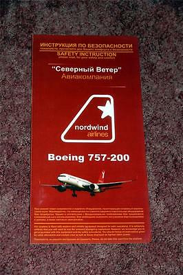 Nordwind Airlines Boeing 757-200 Safety Card