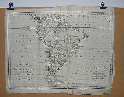Antique Original Accurate Map of SOUTH AMERICA by Thomas Bowen c1790 18x14ins