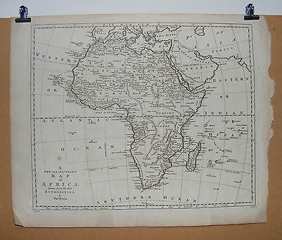 Antique New and Accurate Map of AFRICA by Thomas Bowen c1780/90 18x14ins
