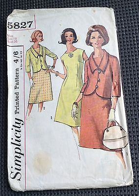 1964 One Piece Dress And Jacket - Simplicity 5827 Pattern