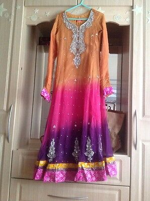*Reduced* Designer BeeJees Anarkali Indian Bollywood Ombre Multi Coloured Size S