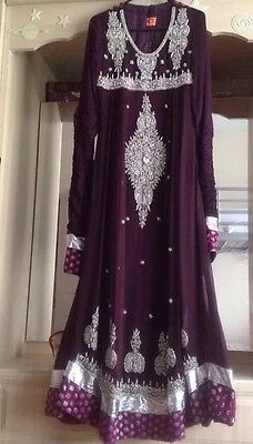 Designer Beejees pair of Anarkali suits purple size S Bridal Bollywood Mehndi