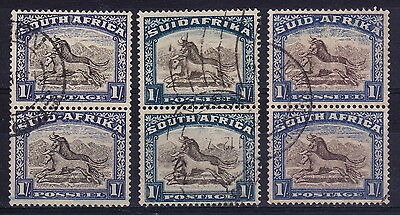 SOUTH AFRICA. 1930-45 1/- pairs, used. Shades.