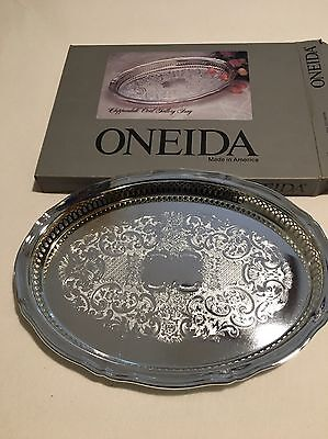 Oneida Chippendale Oval Gallery Tray 14 3/4 Inches