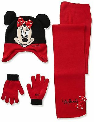 Official Girls Minnie Mouse Hat Scarf & Glove Set Age 6-10 Years