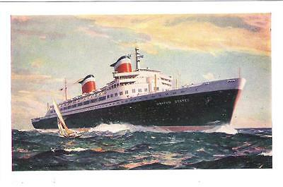 United States Lines Ss United States Aylward Portrait Postcard