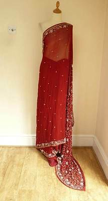 red chiffon diamante punjabi bollywood Indian salwar kameez SARI lengha SA12137