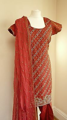 red 14-16 bollywood punjabi Indian salwar kameez sari lengha SS13091