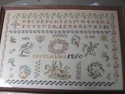 Vintage 1850 Vermont Sampler Sewn in The 1960's..