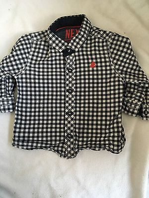 long sleeved black checked shirt 3-6 months