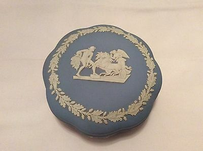 "Vintage Wedgewood Blue Jasperware 5"" Lidded Trinket Box"