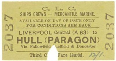 C.L.C. Railway Ticket Liverpool Central to Hull (Paragon)