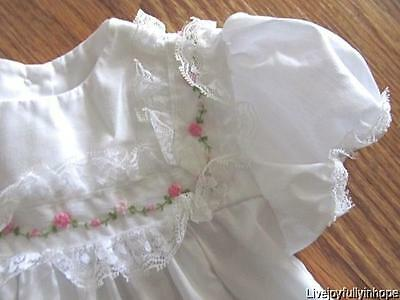 Vintage Chic! ~ LITTLE DEAR 12 Mo ~Pink Roses Lace EMBROIDERED Baby Infant Dress