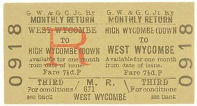 G.W.& G.C.Joint Railway Ticket High Wycombe (Down to West Wycombe