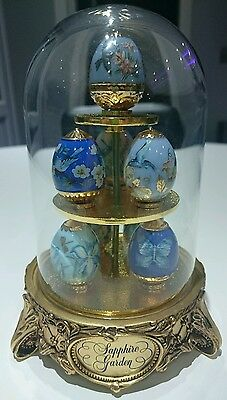 Franklin Mint Sapphire Garden House of Faberge 8 x eggs and stand with dome